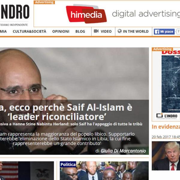 Hanne Nabintu Herland intervju med L'Indro Saif-al-Islam-IIndro-Italia Hanne Herland