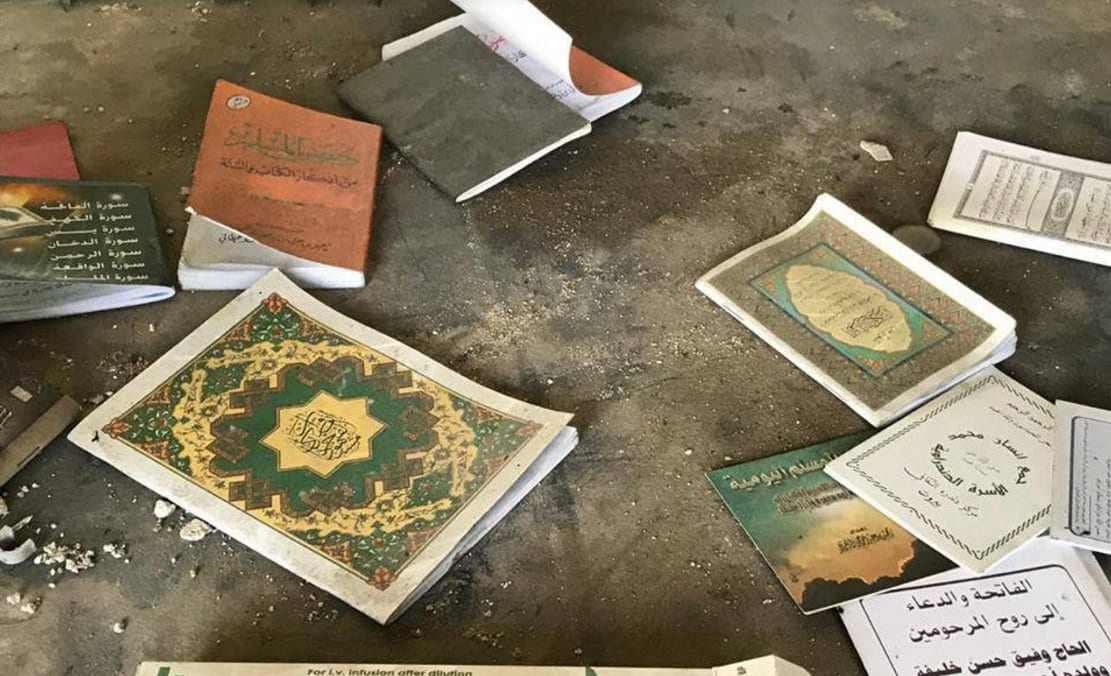Photo: Religious texts found together with medicine in terrorist-controlled East Aleppo.