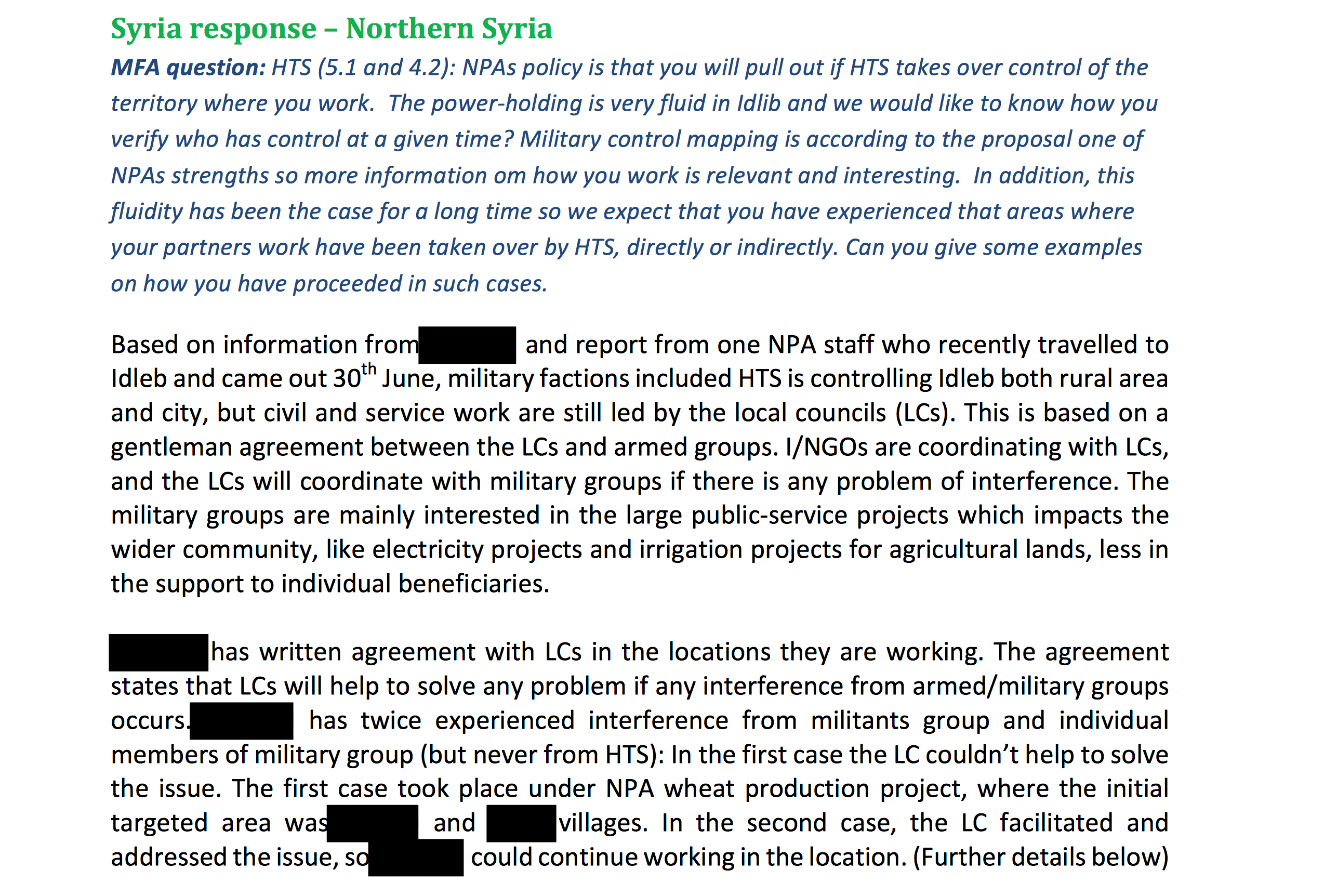 Syrian response northern syria MFA Norsk bistand til Syria: