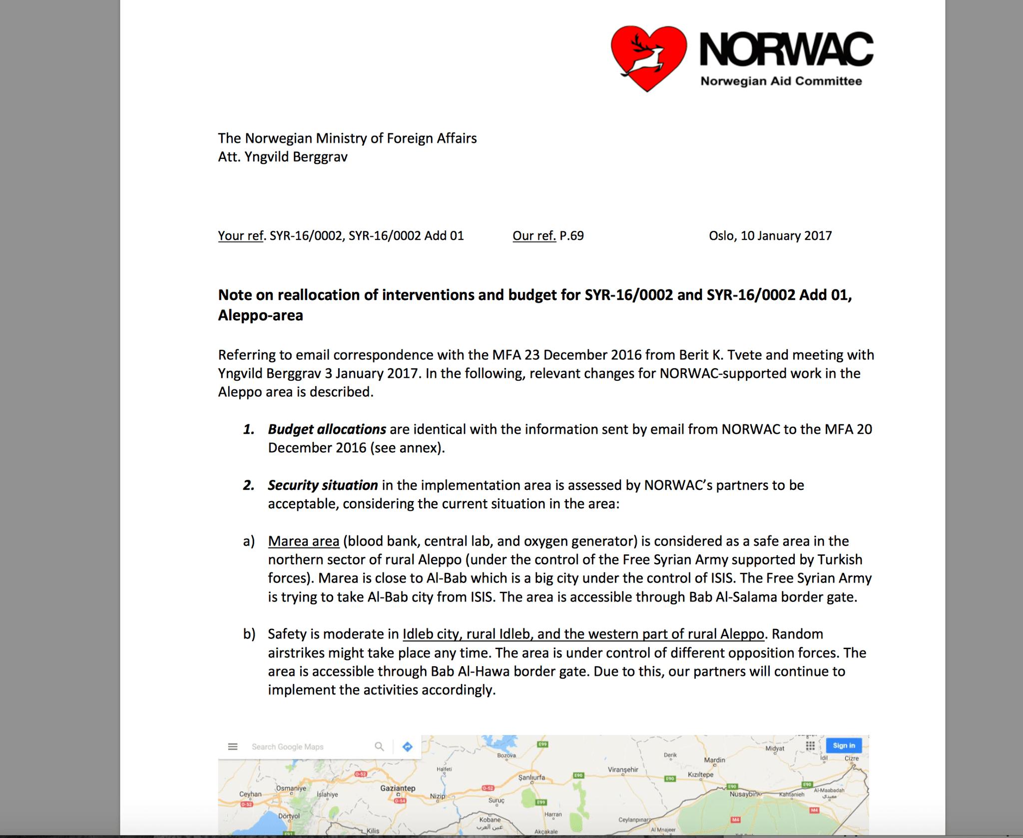 Foto: NORWAC brev til UD Norsk bistand til Syria: