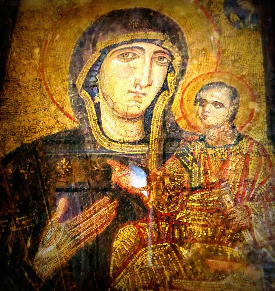 """""""Maria and child"""" icon in the Echumenical Patriarchate of Constantinople for Greek Orthodox Christianity, Istanbul. Photo: Herland Report."""
