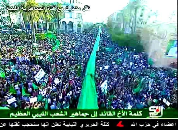 libya green square 1 july pro gaddafi rally NATOS overgrep i Libya