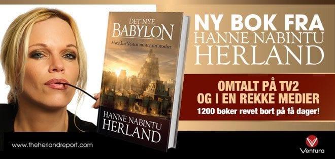 """Ny bok fra Hanne Nabintu Herland, omtalt på TV2 og i en rekke medier: """"Det nye Babylon"""""""