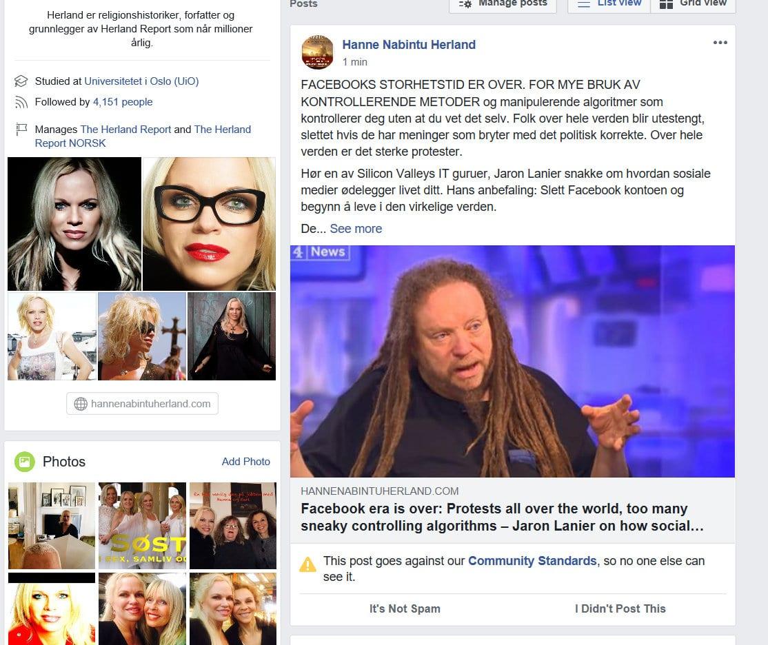 Facebook ban on Facebook criticism Herland Report