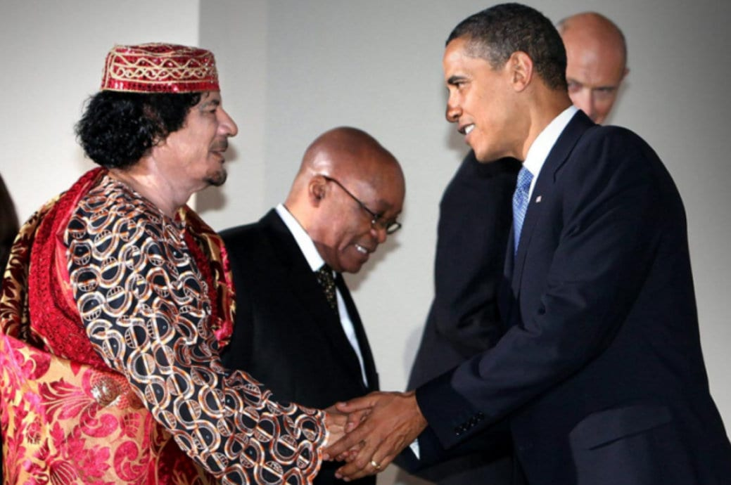 Gaddafi Obama together, Zuma in background. Getty. Libya was Hillary's war. Hillary Clinton.