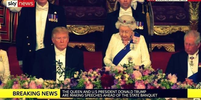 President Trump splendid UK visit with Queen Elisabeth Sky News