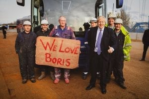 Boris Johnson with voters workers