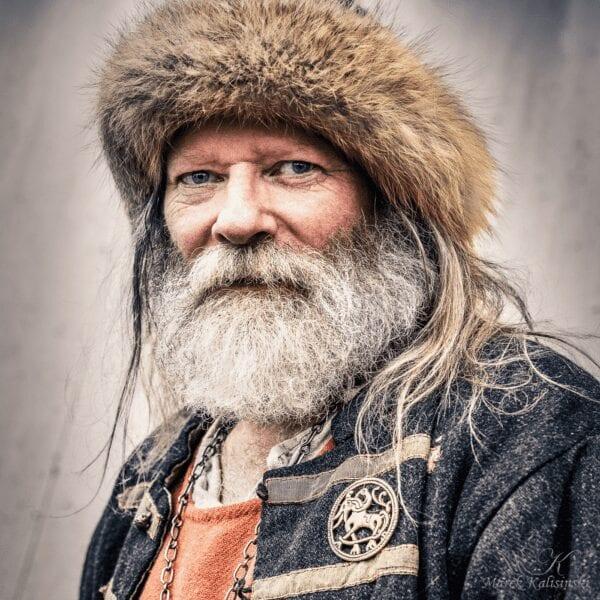 Photo of modern Viking chieftain, Georg Olafr Reydarsson, portrait by Marck Kalisinski, Herland Report, VIKING TV series