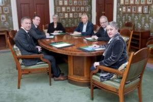 The Nobel Peace Prize Committee, 2018. Olav Njølstad (secretary), Asle Toje, Anne Enger, Torbjørn Jagland, Henrik Syse, Berit Reiss-Andersen