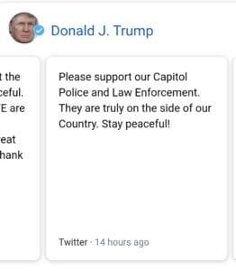 Donald Trumps last Tweet, 2021