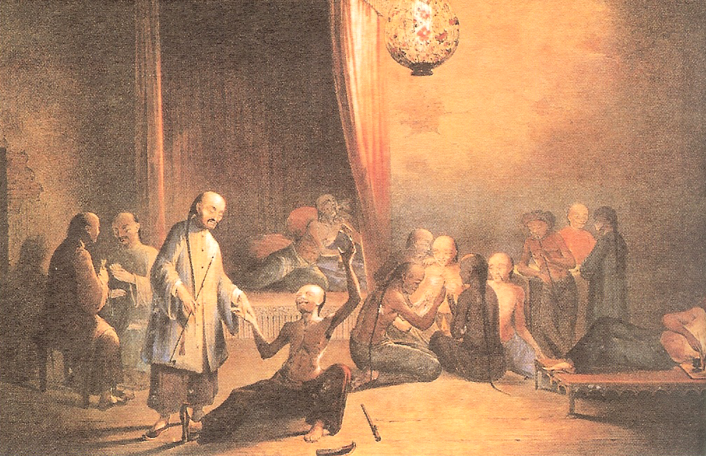 The Humiliation of China: Chinese addicted to opium in the 18th Century. Source: 何輝生中國人服食鴉片圖