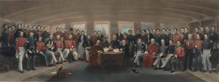 The Humiliation of China: The signing and sealing of the Treaty of Nanking. Source: Painted by Captain John Platt 1856, (Brown University)