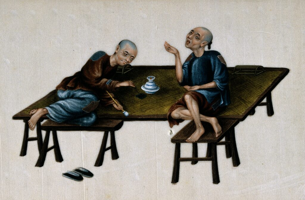Humiliation of China: Two poor Chinese opium smokers. Gouache painting on rice-paper. Credit: Wellcome Library.